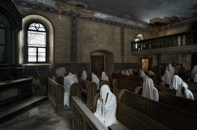 "This is from a real place called ""Nine Ghost Church,"" apparently, but I think I prefer ""Our Lady of NOPE NOPE NOPE."" Just imagine a day--and that day is coming soon--when churches will look a lot more like this than they do today on Sundays. Every single terrible scandal brings us a little closer to that fine day. (Credit: [AndreasS], CC license.)"