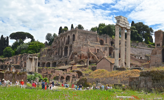 """The ruined temple of Castor and Pollux, the Dioscuri who may have later inspired the depiction of two of Jesus' apostles,  the """"sons of thunder,"""" James and John. (Credit: David McSpadden,  CC license.)"""