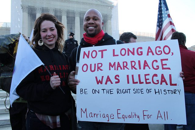 Those who are ignorant of history--or deny it--will repeat its mistakes. (Credit: Elvert Barnes, CC license.) 2013 marriage equality rally in Washington, DC.