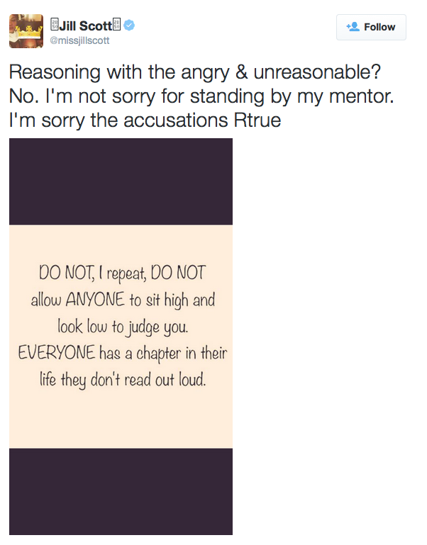 "Jill Scott's demand that we not ""judge"" Bill Cosby. (Screengrab from her Twitter feed on Thursday, July 9th, 2015.)"