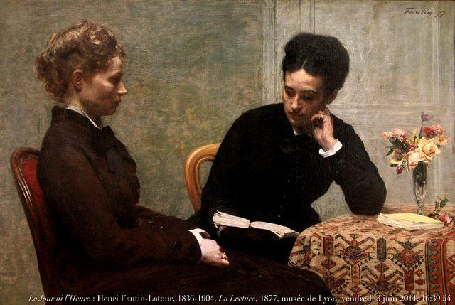 """The only proper way to do things, obviously.  """"Le Jour ni l'Heure 4138 : Henri Fantin-Latour, 1836-1904, La Lecture, 1877, musée des Beaux-Arts de Lyon, Palais Saint-Pierre, vendredi 3 juin 2011, 16:39:54"""" (Credit: Renaud Camus, CC license.)"""