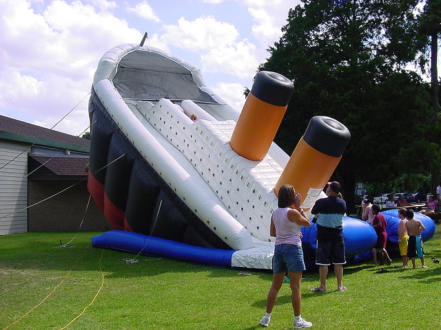 Amazingly, nobody at this Houston-area shindig noticed how offensive this was. I'm guessing the blow-up Challenger slide was already spoken for that day. (Credit: Jason Eppink, CC license.)