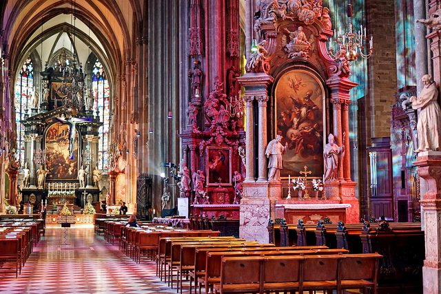 Try to guess: Church or Disneyland pavilion? (Credit: Dennis Jarvis, CC license.) Did you guess correctly? It's St. Stephen's Cathedral in Vienna, Austria.