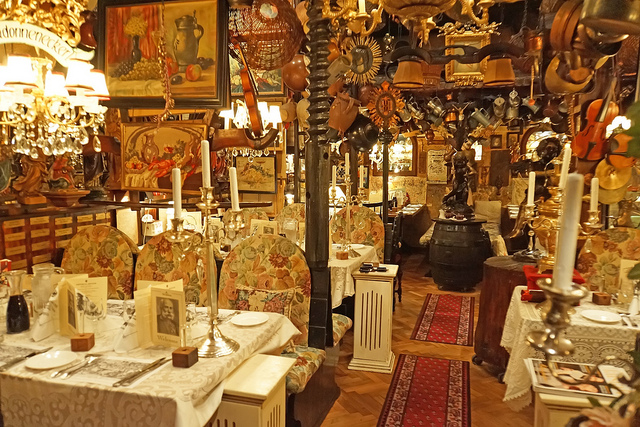 The restaurant in question probably did not look like this, but WOW. How could I not? (Credit: the inestimably kind and talented Dennis Jarvis, under .)  This is the famous Austrian Marchfelderhof Restaurant.