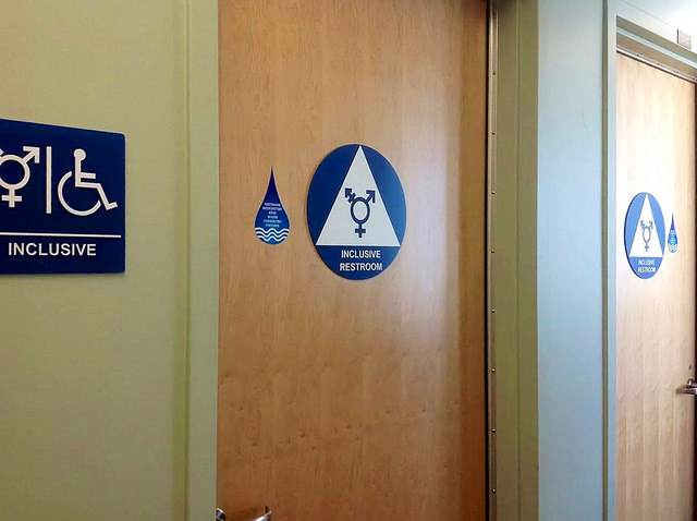 This photo of a gender-neutral public bathroom was taken in 2014. I'd like to note that the world has not ended in that time. (Credit: Ted Eytan, CC-SA license.)