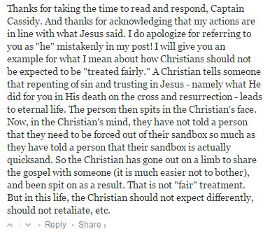Screencap of blog comment by a now-banned Christian.