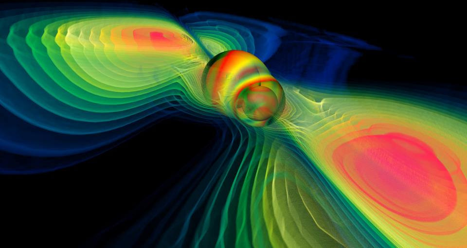 This is supposed to be a simulation of two black holes merging, a propos of nothing. (NASA Blueshift, CC.)