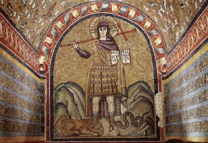 "Christ Militant, a mosaic from the late 5th century in Ravenna. Yes, that's supposed to be Jesus--dressed as a Roman Legionary in a purple tunic, holding a Gospel passage reading ""I am the way, truth, and life."" Some folks think this theme in religious art was a reaction to the Arian heresy."