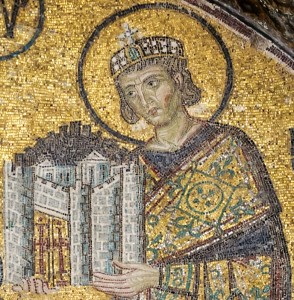 Constantine the Great, from a mosaic in the Hagia Sophia. (Istanbul, Turquie) (Public Domain, Wikimedia.)