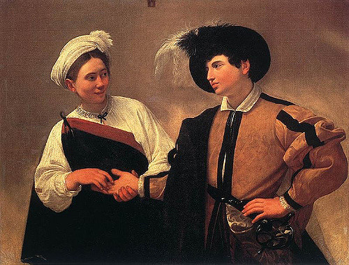 "Competition. (""The Fortune Teller,"" Caravaggio, 1594. First version. Rodney, CC.)"