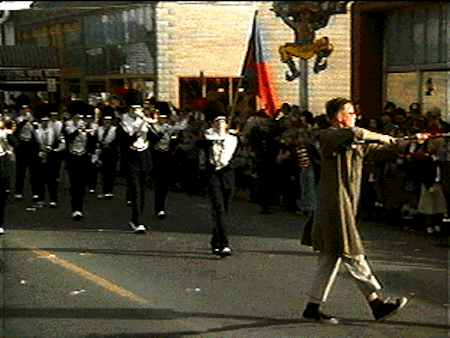We all know where the marching band is going to end up here, right? (Still from Animal House.)