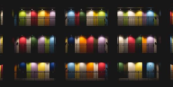 colorful hotel doors in tokyo