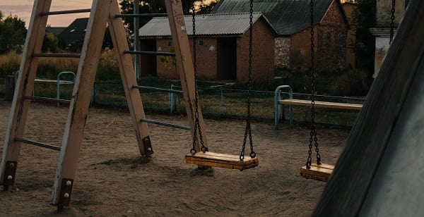 swing set at dusk
