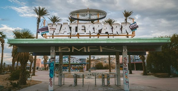 abandoned graffiti theme park entrance
