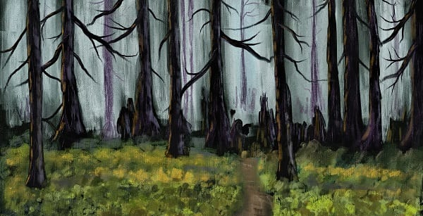 gorgeous oil painting of ominous dark woods and shrouded figures