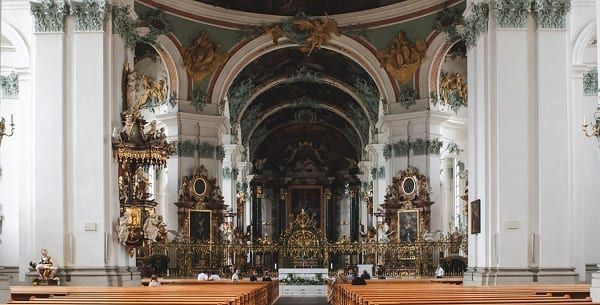 a huge swiss catholic church interior