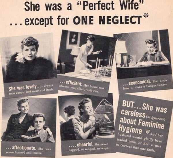 an old ad selling lysol as a feminine hygiene product