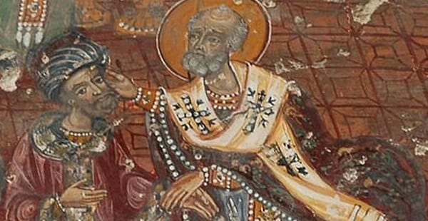 Nicholas slaps Arius at the Council of Nicea.