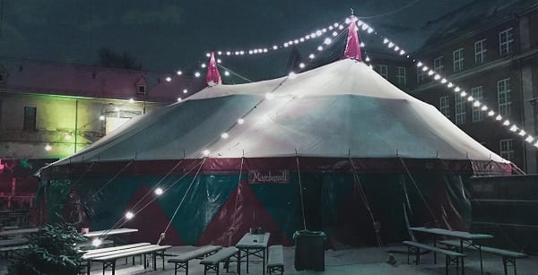a revival tent at night in bayern