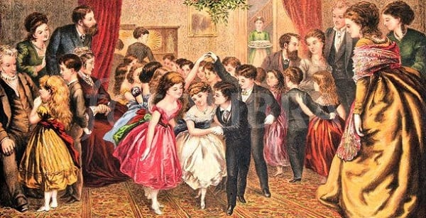 children dancing at a victorian christmas party