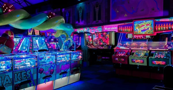 a neon-lit video arcade in england