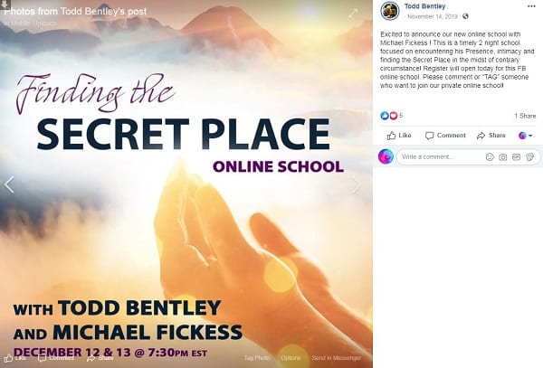 an ad from todd bentley's FB page: finding the secret place