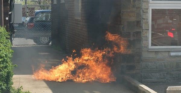 a small dumpster fire