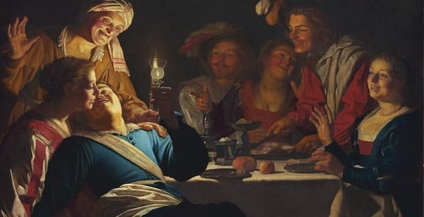 a painting of a bunch of people at a brothel having a great time