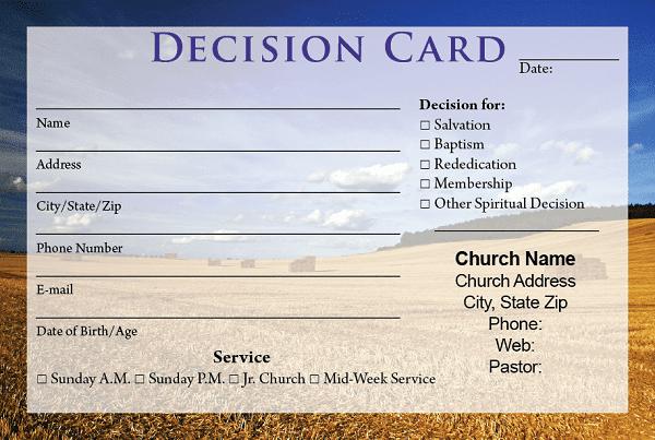sample decision card