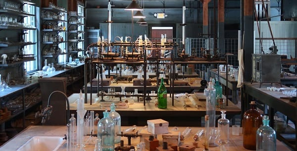 laboratory with old time equipment