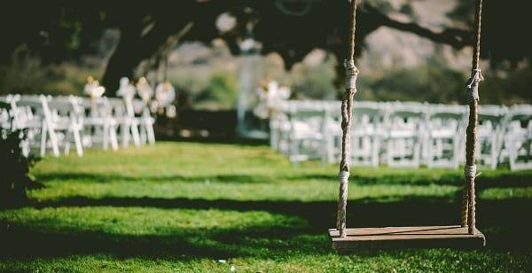 a swing at a wedding venue