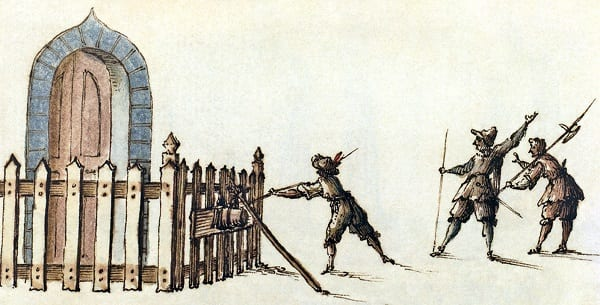 17th-century sketch of how to set up a petard