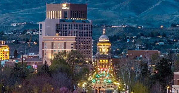 a nighttime scene of downtown boise