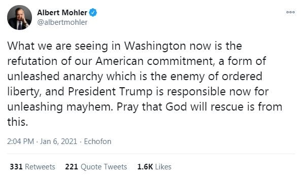 What we are seeing in Washington now is the refutation of our American commitment, a form of unleashed anarchy which is the enemy of ordered liberty, and President Trump is responsible now for unleashing mayhem. Pray that God will rescue is from this.