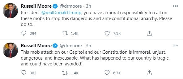 President @realDonaldTrump , you have a moral responsibility to call on these mobs to stop this dangerous and anti-constitutional anarchy. Please do so. This mob attack on our Capitol and our Constitution is immoral, unjust, dangerous, and inexcusable. What has happened to our country is tragic, and could have been avoided.