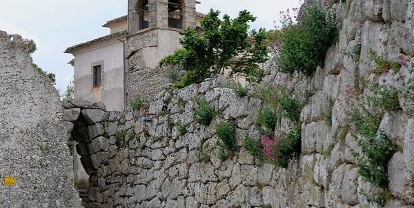 an ancient wall, long ago ruined