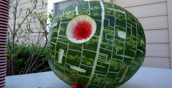 a death star carved watermelon