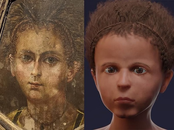 3D facial reconstruction of mummy beside his mummy portrait