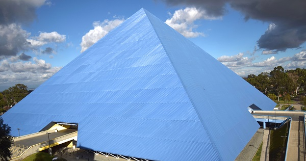 a shiny blue pyramid in california