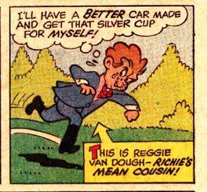 reggie van dough from richie rich, sneering as he runs away