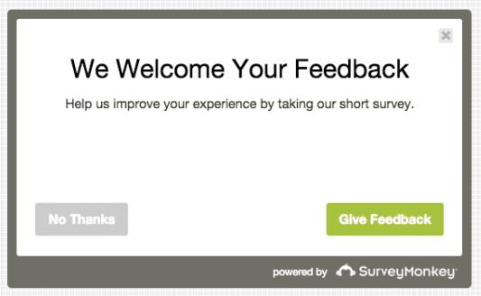 a survey pop-up form