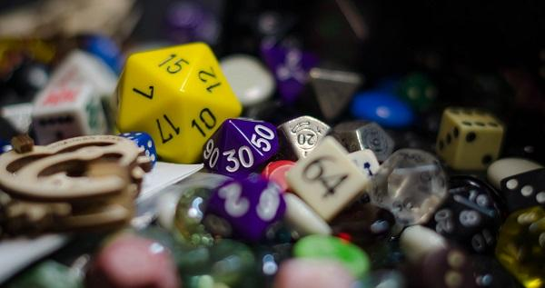 a familiar sight for gamers: so many dice