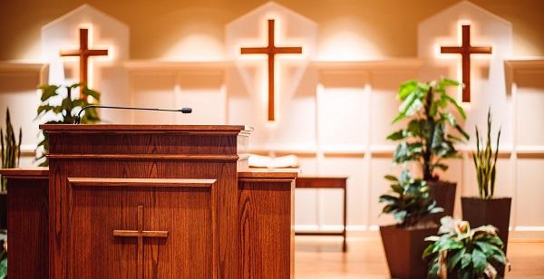a weirdly militaristic church pulpit