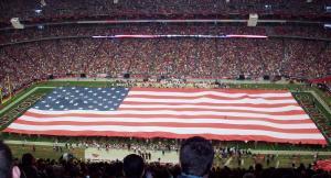 flag on football field