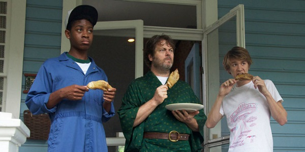 """Earl (RJ Cyler), Greg's dad (Nick Offerman), and Greg (Thomas Mann), in """"Me and Earl and the Dying Girl"""""""