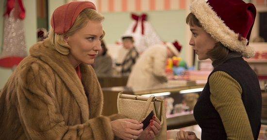 The first encounter of Carol and Therese (Rooney Mara)