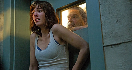 """Michelle (Mary Elizabeth Winstead), captive of Howard (John Goodman), in """"10 Cloverfield Lane"""""""