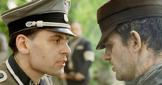 "Saul encounters an SS officer, in ""Son of Saul"""