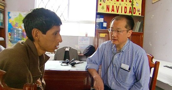 Dr. Kim with a TB sufferer in Peru
