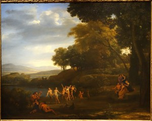 Landscape with Dancing Satyrs and Nymphs by Claude Gellee, 1646